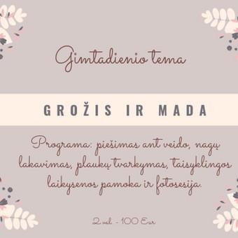UŽIMTUMAS/EDUKACIJA - Renginių organizavimas / Rasa / Darbų pavyzdys ID 892423