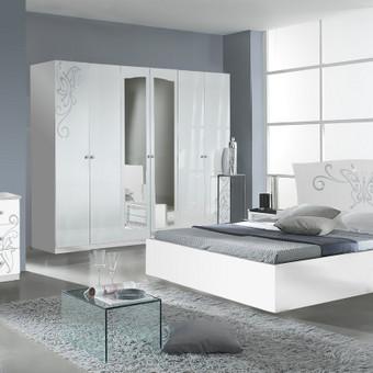 Nurodyta komplekto kaina.Lova 160/180,2 - naktiniai staliukai,komoda,veidrodis,spinta  4 durų arba 6 durų Spalva galima pasirinkti balta (bianco) Kilmės šalis Italija