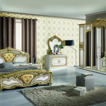 Nurodyta komplekto kaina.Lova 160/,2 - naktiniai staliukai,komoda,veidrodis,spinta  4 durų arba 6 durų Spalva galima pasirinkti balta (bianco) su aukso patina Kilmės šalis Italija