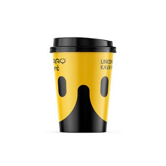 HappyCafe kavos puodelio dizaino sukūrimas. Linksmiausia kava mieste.