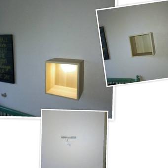 Ikea spintelės, dėžutės  kabinimo darbai. Šioje #eket dėžutėje įmontuotas apšvietimas.