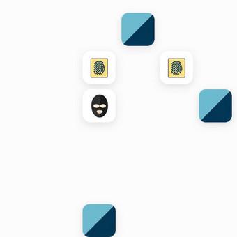 Memory žaidimo vaizdas. Tikslas surasti du vienodus objektus.