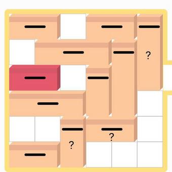 Move Brick žaidimas. Tikslas pro lange esantį tarpą ištempti raudoną dėžutę.