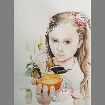 "Portretai iš nuotraukos akvarelė #drugeliai #mergaite #akvarele #portretai_iš_nuotraukos ""Girl With Butterflies"", watercolor #Butterflies #littlegirl #watercolor #painting #portraits_from_photos"