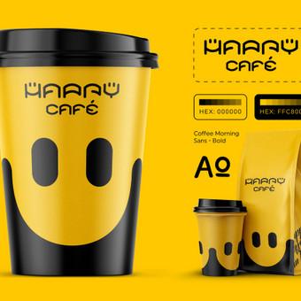 Happy cafe - linksmiausia kava mieste. Produkto pakuotės dizainas. Popierinio kavos puodelio dizainas. Logotipo dizainas. Identiteto kūrimas. gLogo.eu