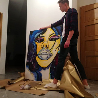 Moderni tapyba ant drobės - Paveikslai interjerui / Monisha Art / Darbų pavyzdys ID 997669