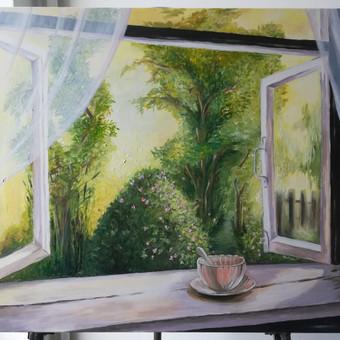 Mokinės nutapytas peizažas pro langą. Drobė, aliejus. 40x60cm. 2019m.