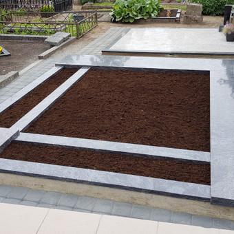 Kapavietės projekto įrengimas, paminklo bei granito bortelių montavimas, juodžemis, trinkelių klojimas.