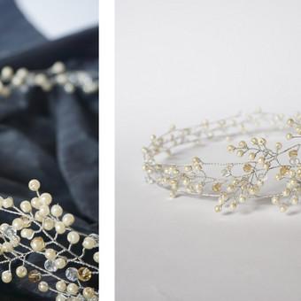 Rankų darbo pinta juostelė-tiara į plaukus. Vestuviniai papuošalai ir aksesuarai.