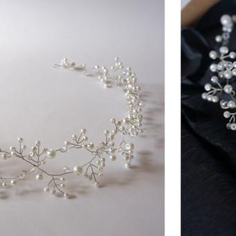 Rankų darbo pinta juostelė, vainikėlis, tiara.  vestuvėms / išleistuvėms / krikštynoms / mergvakariui