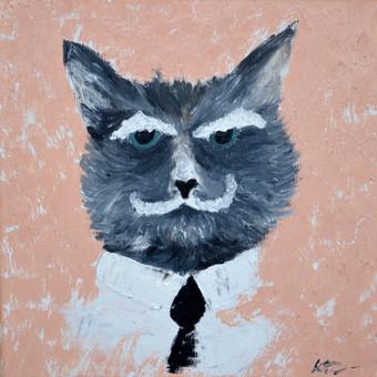 """,,Senas katinas"""" 30x30, aliejus, drobė"""