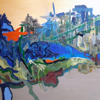 """Gegužės peizažas 90 x 110 aliejus, drobė 2016 m. Šį paveikslą galite pamatyti ir įsigyti """"Parko galerijoje"""" Valančiaus g. 6, Kaunas"""