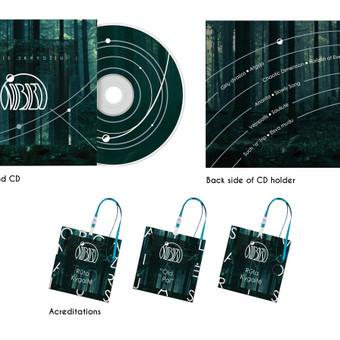 """Muzikos ir menų festivalio """"Nibiru"""" akreditacijų, CD ir CD dėklo dizainas."""