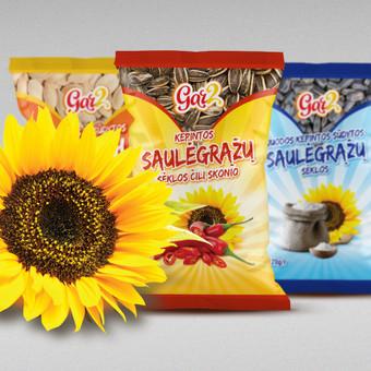 """""""Gar2"""" saulėgrąžų ir moliūgų sėklų pakuočių dizainas pagal UAB """"Rivona"""" užsakymą."""