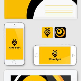 """Hive Spot"" logotipas ir firminis stilius."