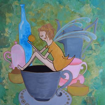 """""""arbatos feja"""" akriliniai dazai. kaina 100 eur (galima deretis) dydis 70x100cm"""