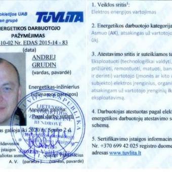 """Geras elektrikas - inžinierius, UAB """"ELEKTARA"""" / Andrej Grudin / Darbų pavyzdys ID 134477"""