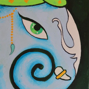 """melynoji Ganesha"" aliejiniai dazai. kaina 70eur dydis 35x45cm"