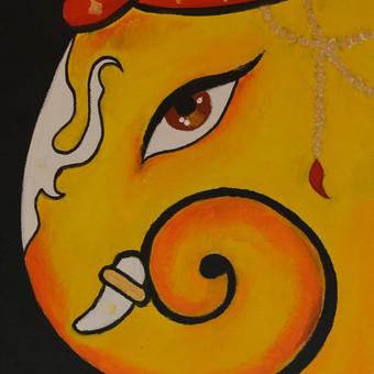 """geltonoji Ganesha'' aliejiniai dazai. kaina 70eur dydis 35x45cm"