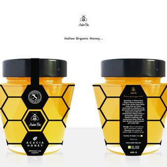 AMBER BEE Medaus pakuotės dizainas
