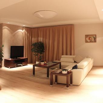 Rafinuota gyvenimo erdvė: šiltų spalvų ir apšvietimo žaismas individualaus namo interjere.