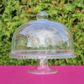 Stiklinė desertinė su dangčiu, diametras 27 cm, nuomos kaina 3€