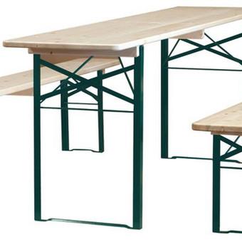 Stalų ir suolų nuoma. Stalas 183x76x74cm - 4€/vnt. Suolas 183x25x46 - 3€/vnt. Nuomojantis komplektą (stalas + 2 suolai) kaina 9€