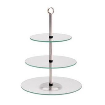 3-jų  aukštų stiklinis padėklas diametras 31,5cm ir 25cm ir 18cm, nuoma 4€/vnt