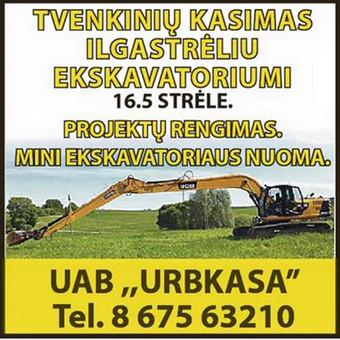 Tvenkinių kasimas ekskavatorių nuoma,mini ekskavatoriai / Rimantas Urbonas / Darbų pavyzdys ID 147023