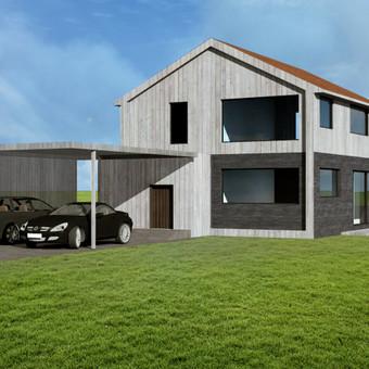 Dviejų aukštų gyvenamasis namas su automobilių pastoge (150 kv.m.)