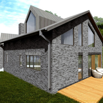 Dviejų aukštų gyvenamasis namas su rūsiu ir vidiniu garažu (250 kv.m.)