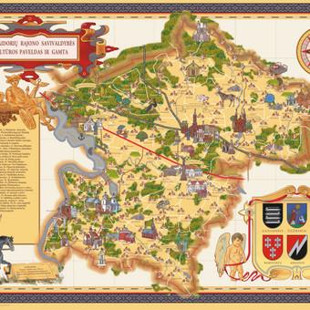 Suvenyrinis žemėlapis -  plakatas. Adobe photoshop