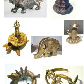 Įvairios bronzinės suvenyrinės skulptūros, h - 8-15 cm