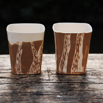 Stiklinės - medžių kamienai