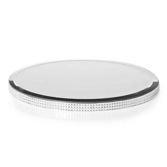Stalo dekoracija veidrodiniu paviršiumi ir blizgančiu šono apvadu, diametras 29,5 cm, nuomos kaina - 3€
