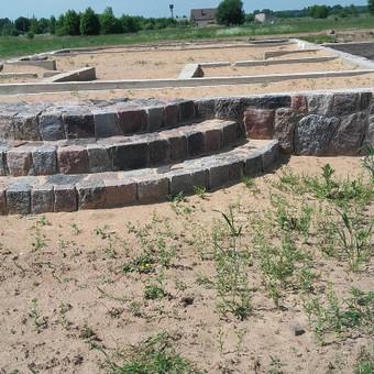 Akmens mūro darbai.Akmens laiptai.
