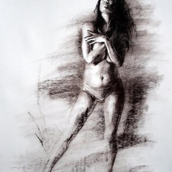 """Piešinys """"Drawing-028 She"""", anglis-popierius, 56x86cm"""