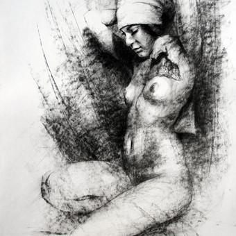 """Piešinys """"Drawing-038 Kerchief"""", anglis-popierius, 56x86cm"""
