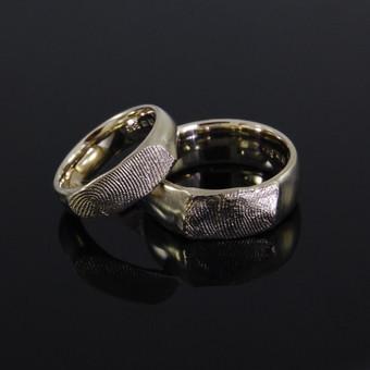 Žiedai su pirštų atspaudais, baltas Au585