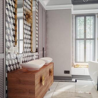 Natūralaus medžio praustuvo spintelė ir žalvario akcentai gali būti pritaikyti ir mažesnei vonios kambario erdvei.