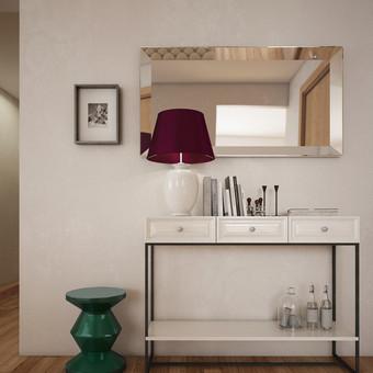 """Klasikines baldų formas derinome su moderniomis, taip """"gimė"""" konsolė ir kitos interjero detalės. Visi baldai pagaminti pagal individualų projektą šiems namams."""