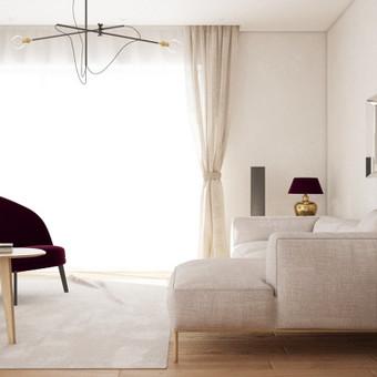 Modernios klasikos interjeras - lengvas ir elegantiškas. Jaukumo suteikia natūralaus lino užuolaidos.