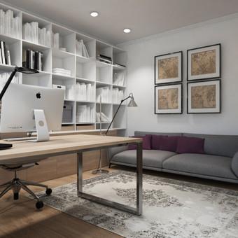 Modernus darbo kambario interjeras.