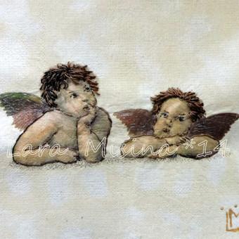 Dovanu idejos vaikams, krikstynoms.  Angeliukai. Rankų darbo išsiuvinėtas juostelėmis paveikslas - puiki asmenine dovana.  Tikslus siuvinėjimo ir jo tonavimo pakartojimas yra neįmanomas, kie ...