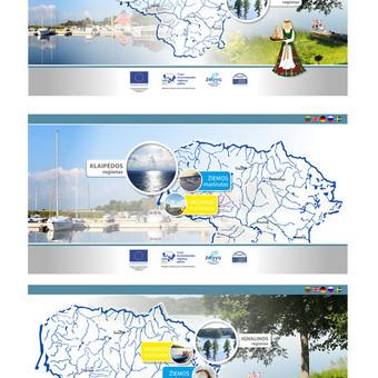 2 - jų regionų žvejybos puslapio dizainas