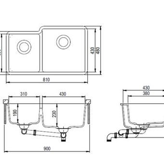 Plautuvės gabaritinių matmenų brėžinys katalogui, techninėms specifikacijoms