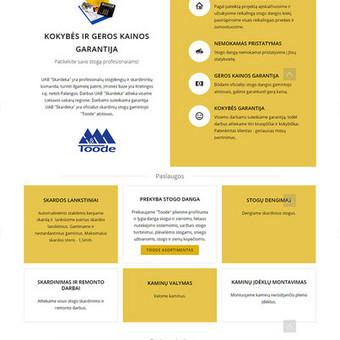 """UAB """"Skardeka"""" vieno puslapio ineternetinė svetainė. Prie įvairių įrenginių prisitaikantis dizainas. www.skardeka.lt"""