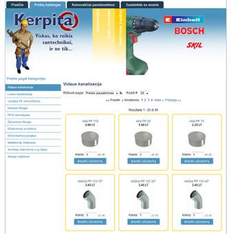 """UAB """"Kerpita"""" internetinė svetainė su el. parduotuve."""