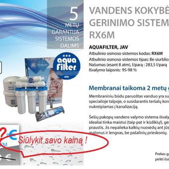 Laiko patikrinta geriamo vandens filtravimo sistema.  Parduodame , montuojame, aptarnaujame!
