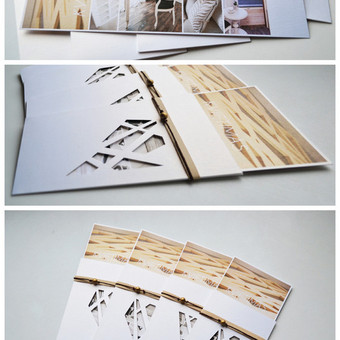 Kvietimas į įmonės gimtadienį. Dvi dalys - teksto kortelė ir stilizuotas vokelis su rankų darbo raižiniu (blizgus popierius). Dydis - 200 x 80. Kokybiška spauda + rankų darbas.